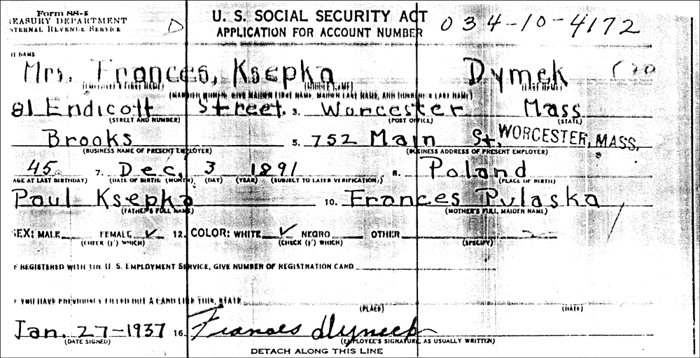 Frances Ksepka Dymek's Application for a Social Security Account Number