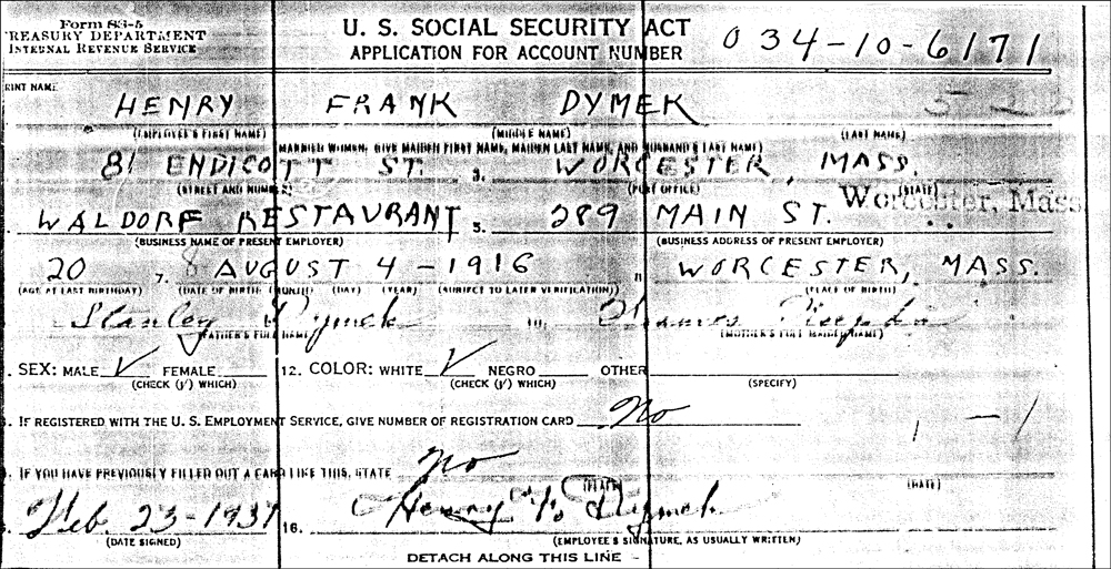 Henry Frank Dymek's Application for Social Security Account Number