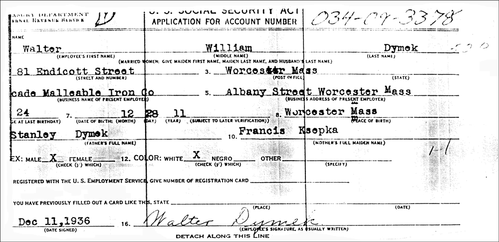 Application for Social Security Account Number for Walter William Dymek