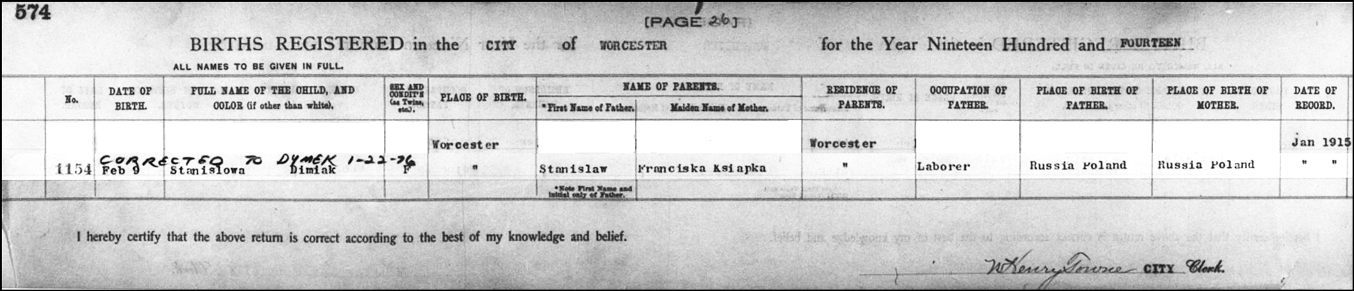 The Birth Record of Shirley Dymek – 1914