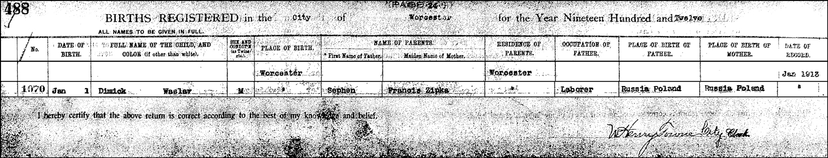 The Birth Record of Walter William Dymek – 1912
