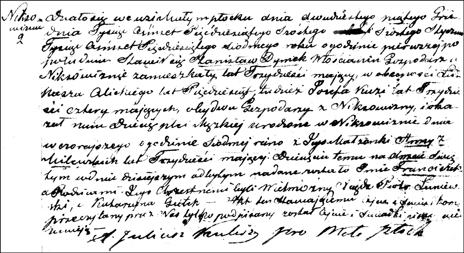 The Birth and Baptismal Record of Franciszek Dymek – 1857