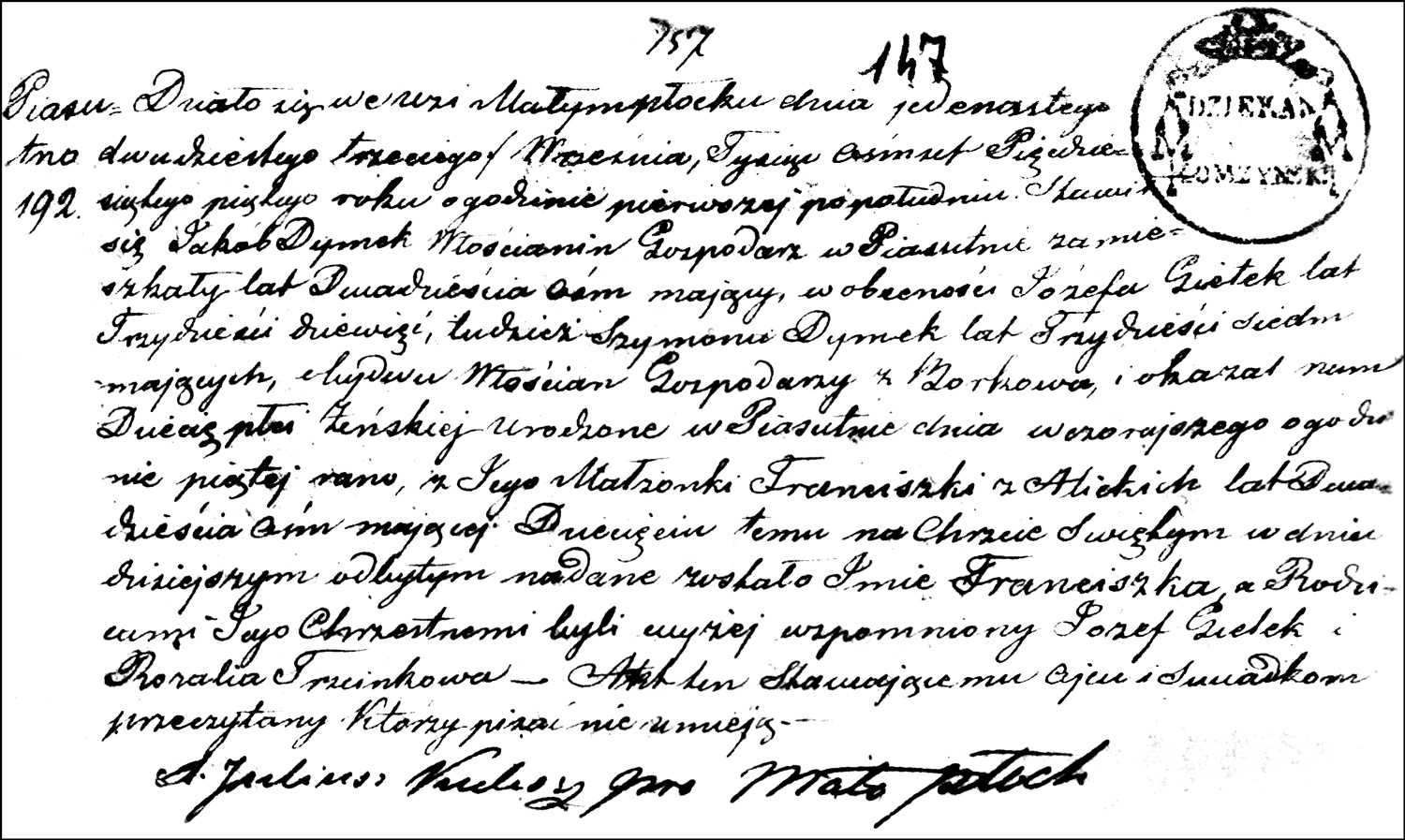 The Birth and Baptismal Record of Franciszka Dymek – 1855