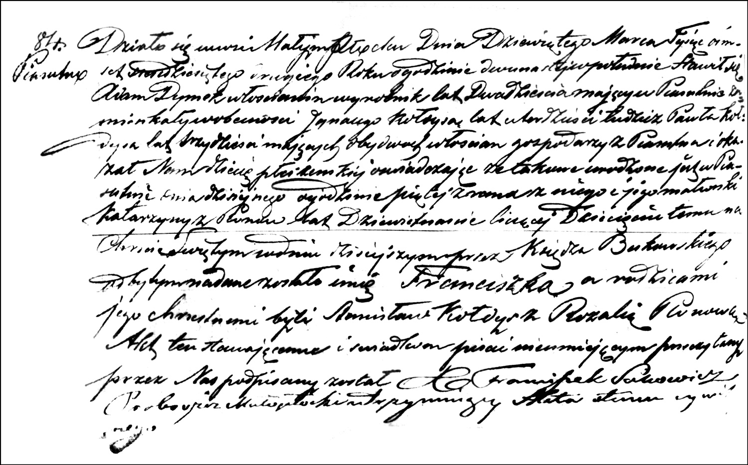 The Birth and Baptismal Record of Franciszka Dymek – 1862