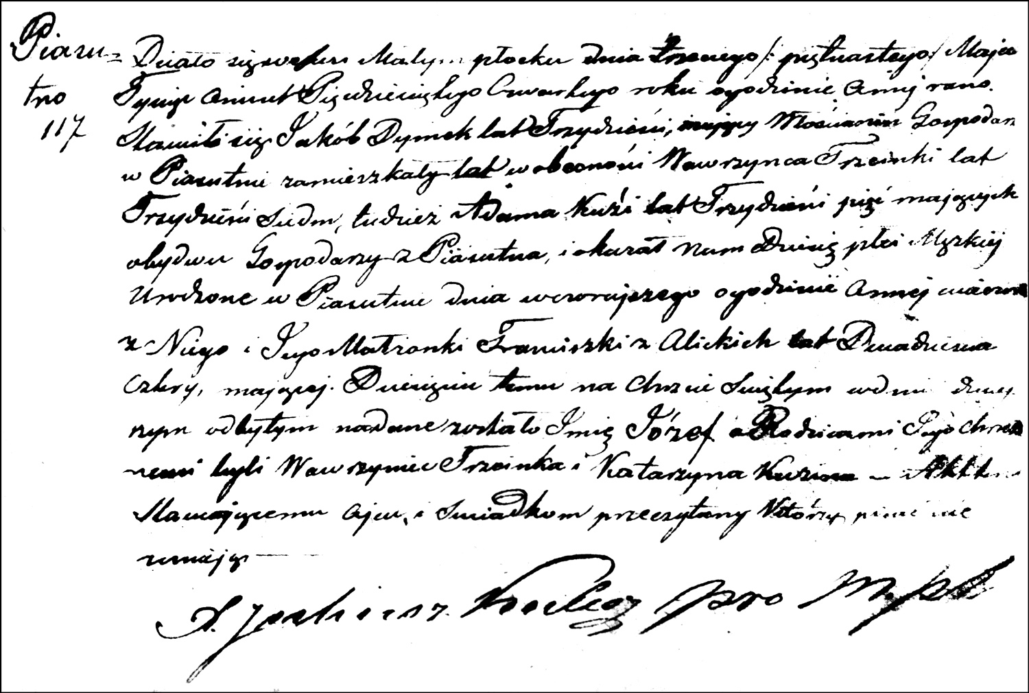 The Birth and Baptismal Record of Józef Dymek – 1854