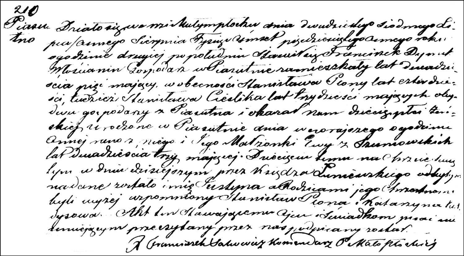 The Birth and Baptismal Record of Justyna Dymek – 1858