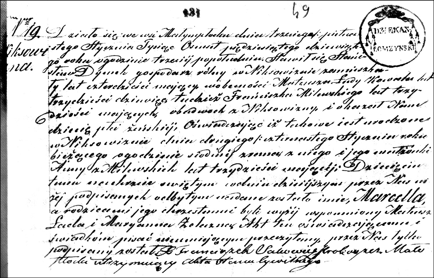 The Birth and Baptismal Record of Marcella Dymek – 1859