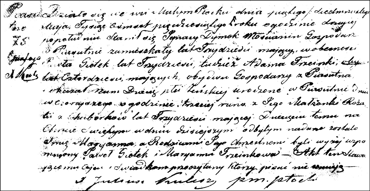 The Birth and Baptismal Record of Maryanna Dymek – 1855