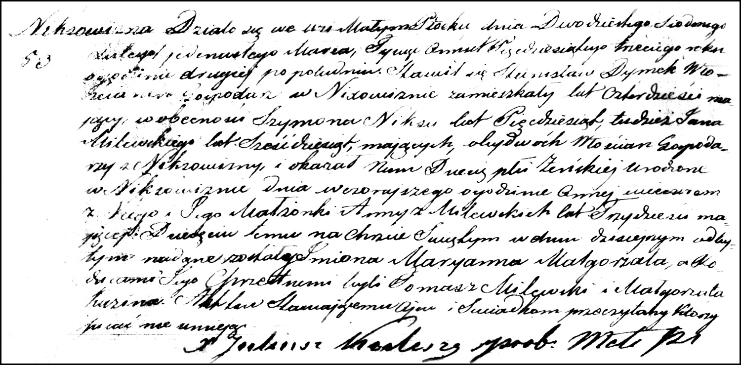 The Birth and Baptismal Record of Maryanna Małgorzata Dymek – 1853