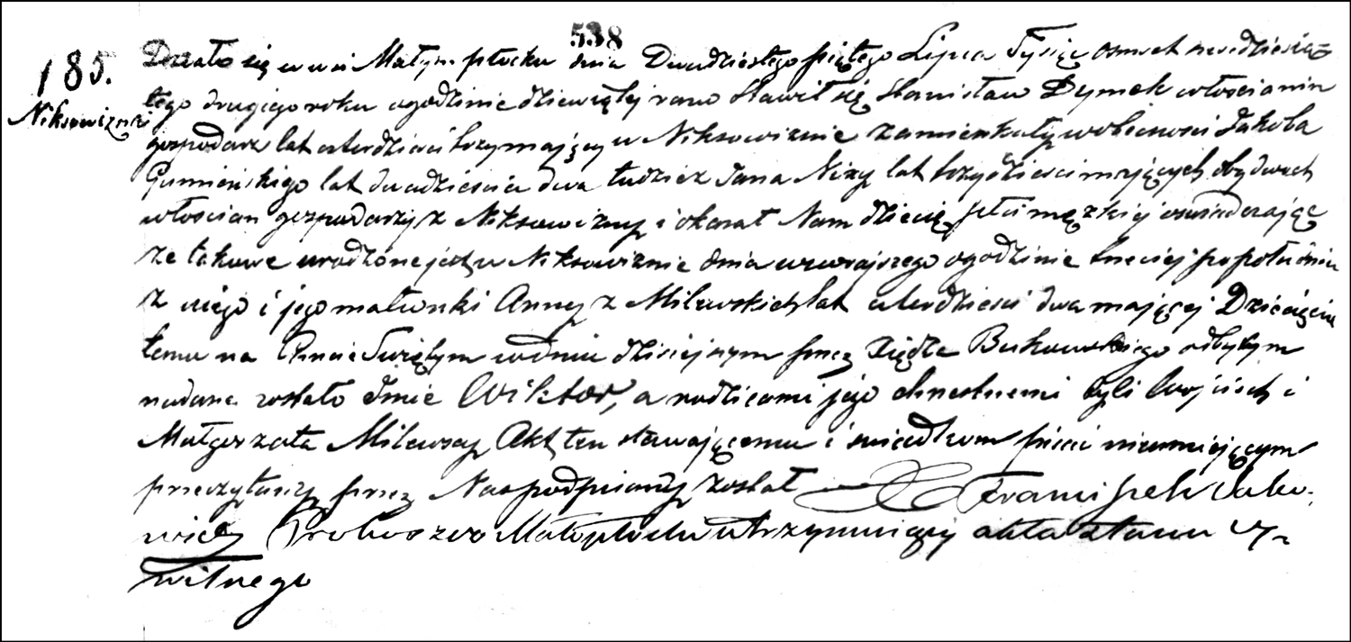 The Birth and Baptismal Record of Wiktor Dymek – 1862