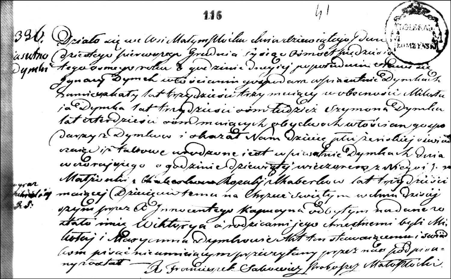 The Birth and Baptismal Record of Wiktorya Dymek - 1858