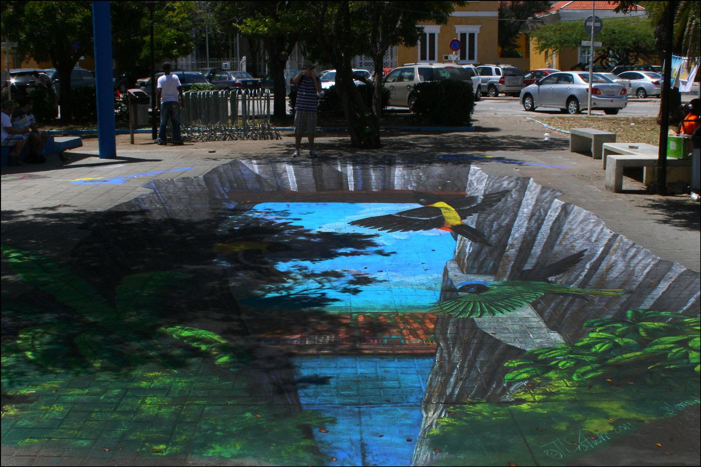 3-D Street Art with Troupials (Icterus icterus)