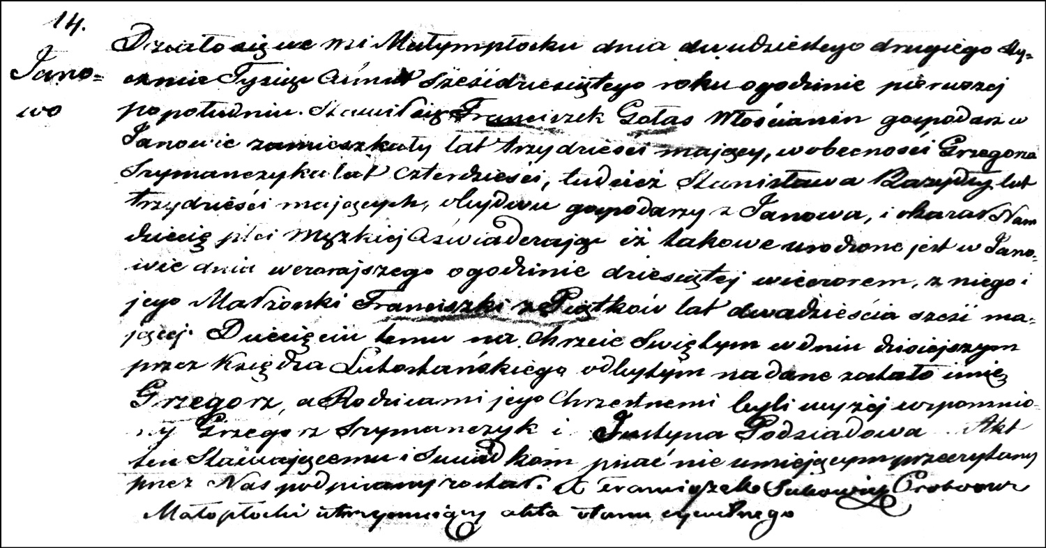 The Birth and Baptismal Record of Grzegorz Gołaś – 1860
