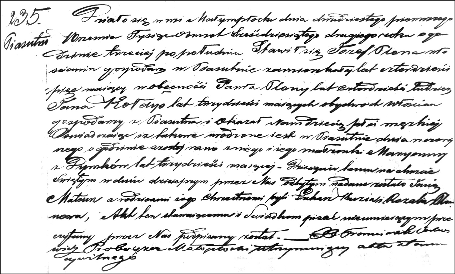 The Birth and Baptismal Record of Mateusz Plona – 1862