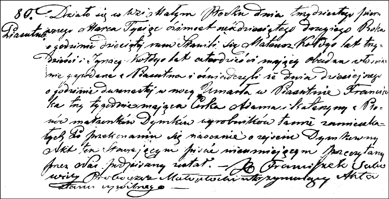 The Death and Burial Record of Franciszka Dymek – 1862
