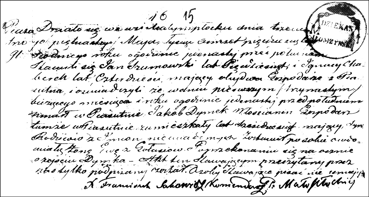 The Death and Burial Record of Jakób Dymek – 1857