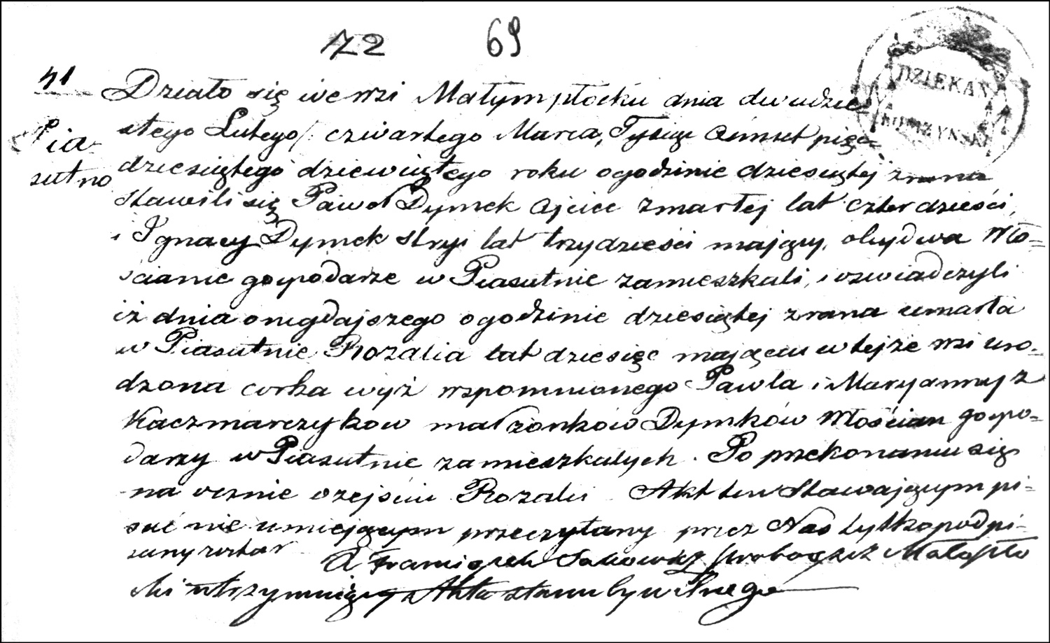 The Death and Burial Record of Rozalia Dymek – 1859