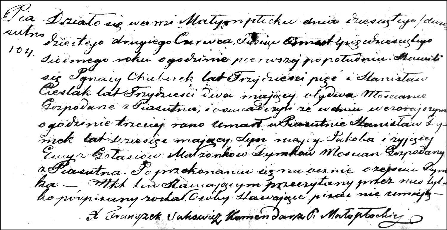 The Death and Burial Record of Stanisław Dymek – 1857