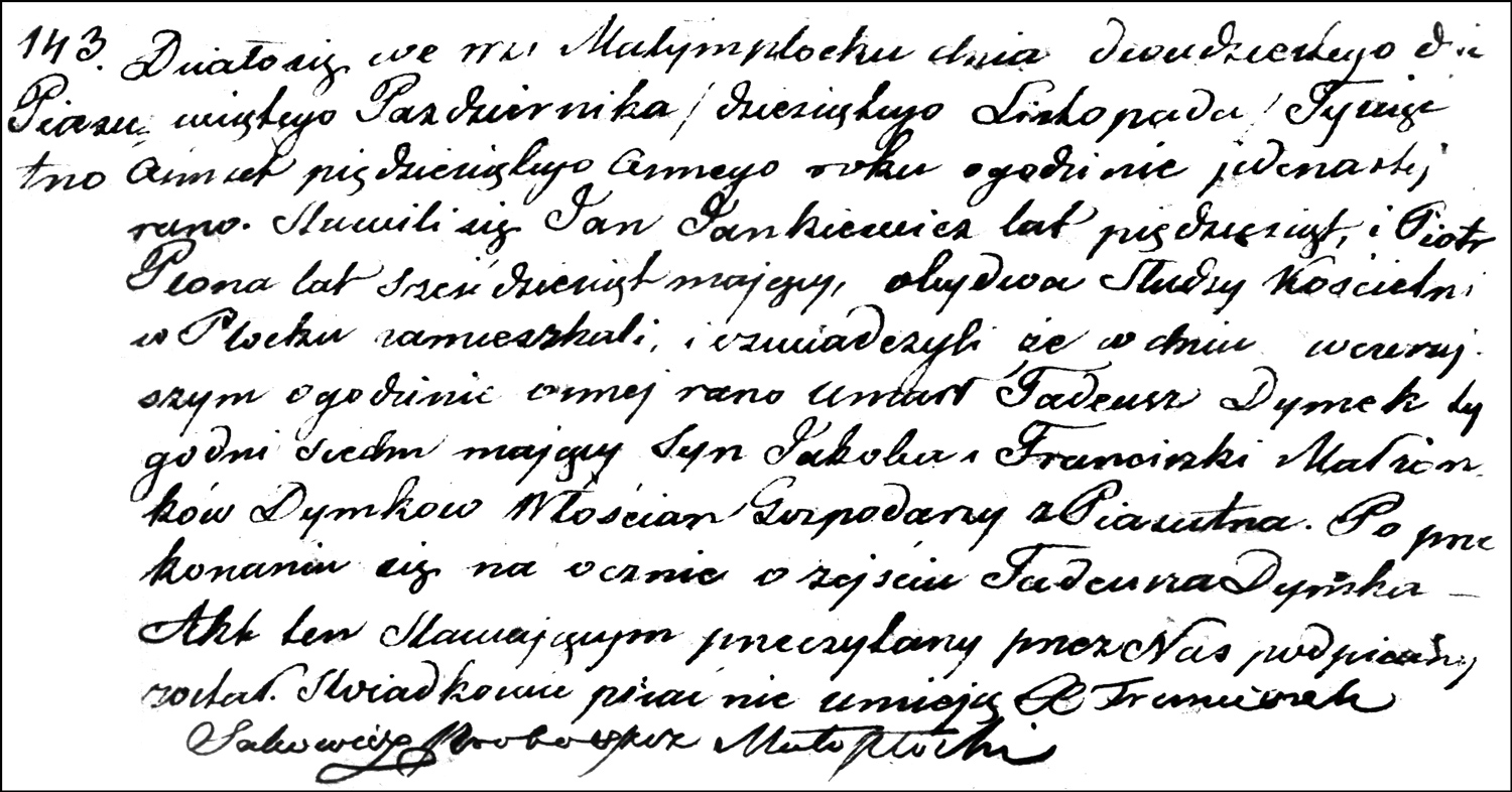 The Death and Burial Record of Tadeusz Dymek – 1858