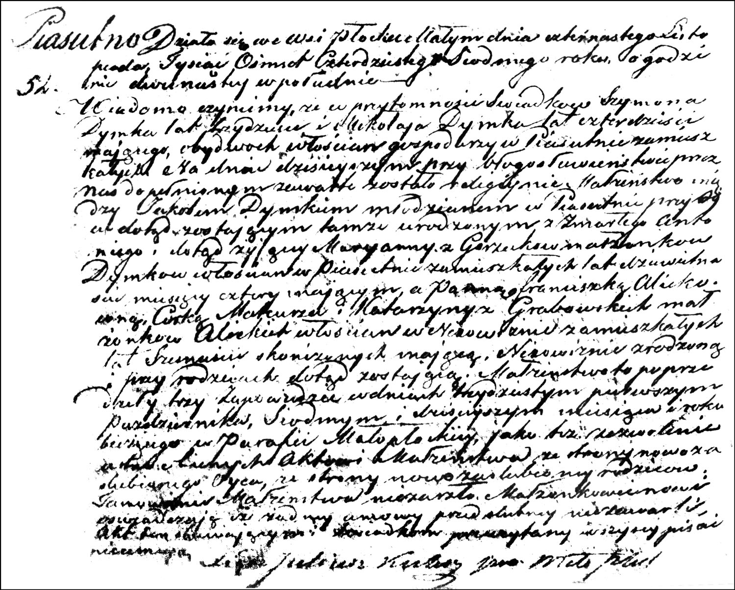 The Marriage Record of Jakób Dymek and Franciszka Alicka – 1847