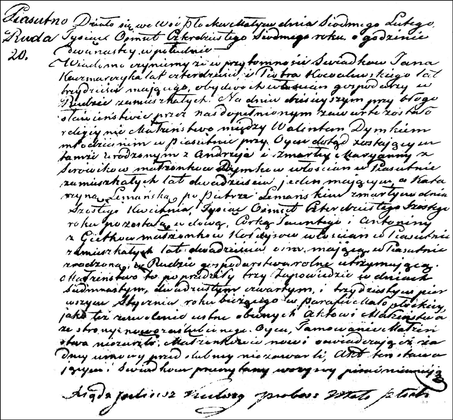 The Marriage Record of Walenty Dymek and Katarzyna née Kołdys Lemańska – 1847