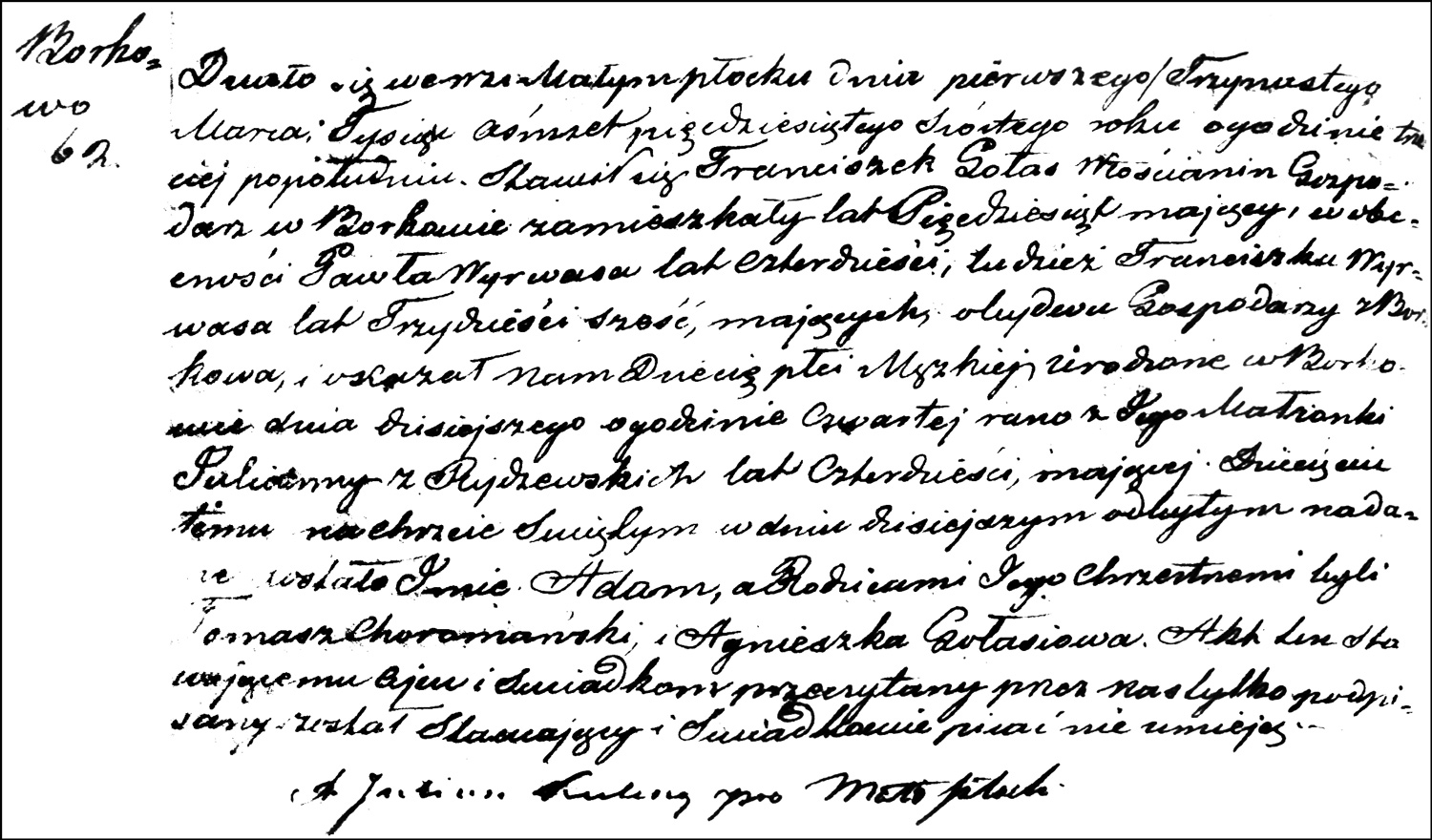 The Birth and Baptismal Record of Adam Gołaś – 1856