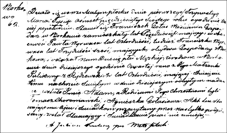 The Birth and Baptismal Record of Adam Gołaś – 1856