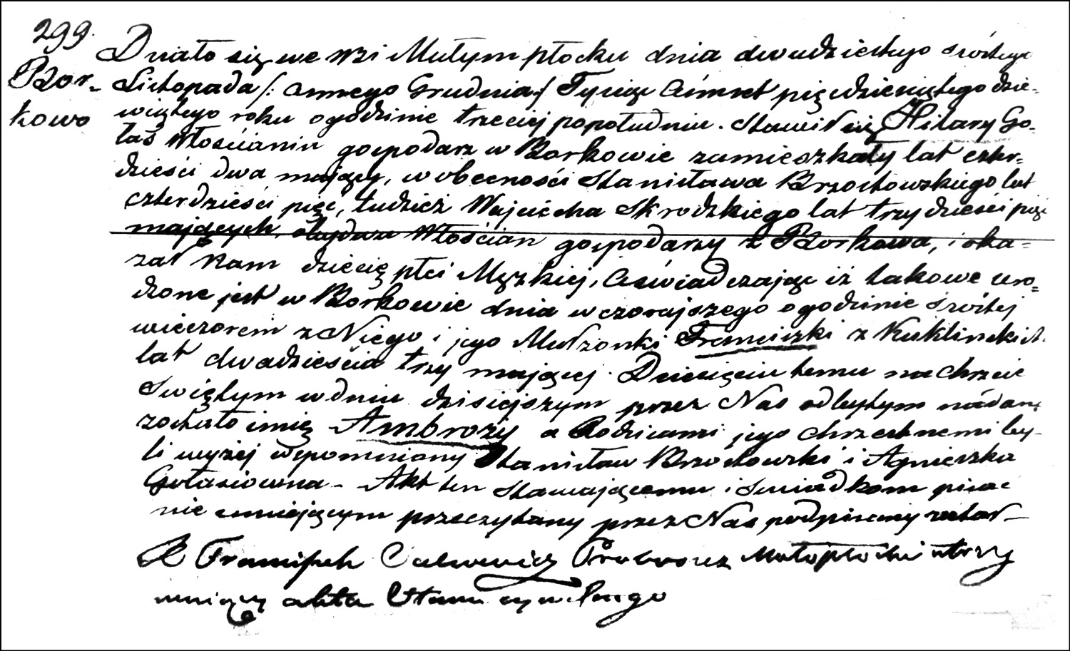 The Birth and Baptismal Record of Amborzy Gołaś – 18659