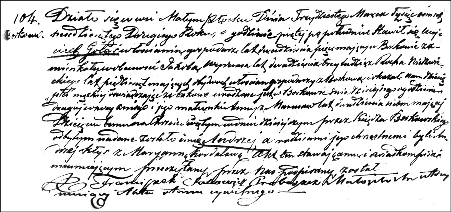 The Birth and Baptismal Record of Andrzej Gołaś – 1862