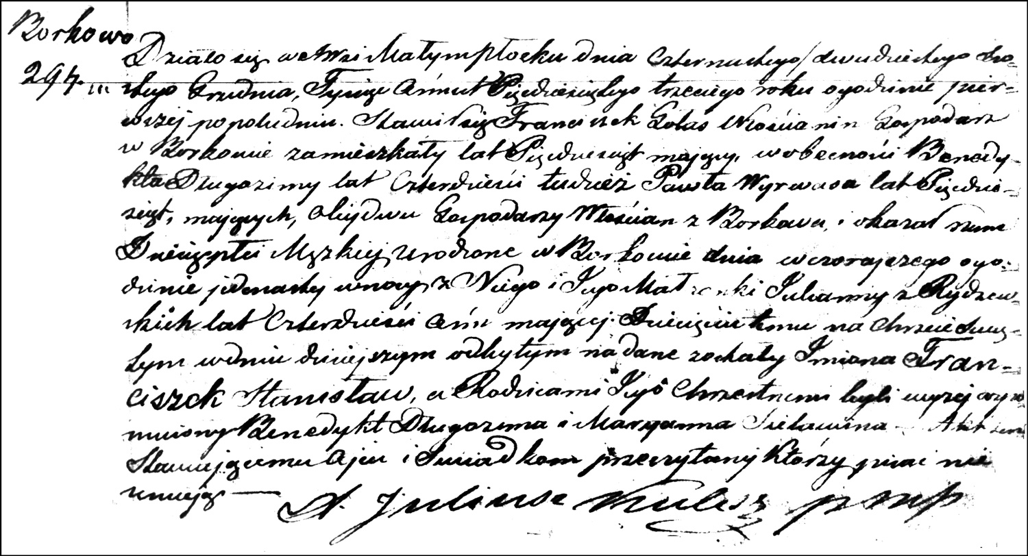 The Birth and Baptismal Record of Franciszek Stanisław Gołaś - 1853