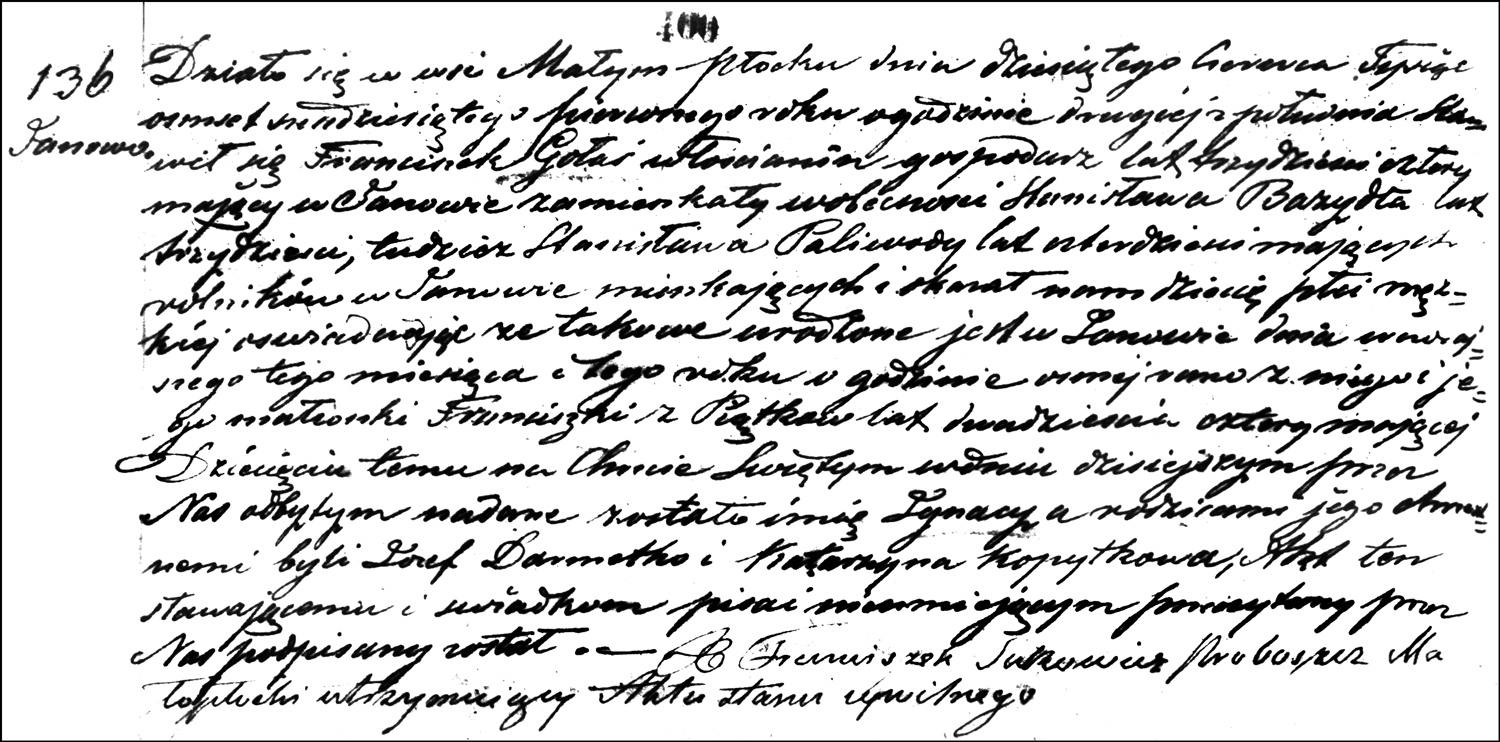 The Birth and Baptismal Record of Ignacy Gołaś – 1861