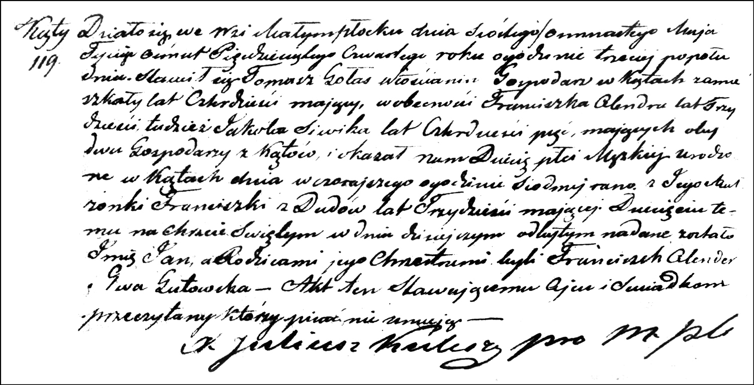 The Birth and Baptismal Record of Jan Gołaś – 1854