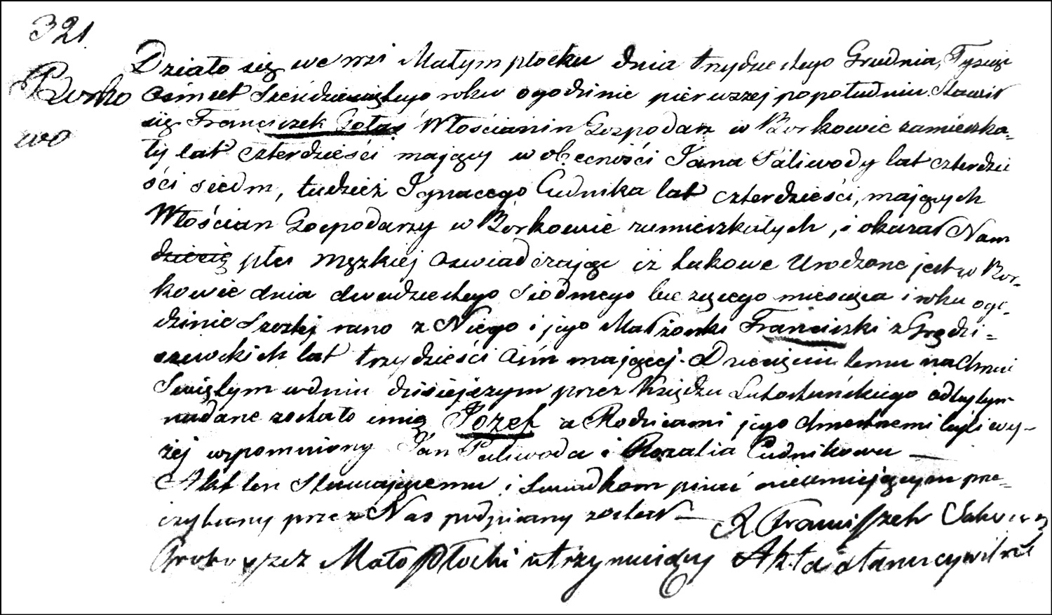 The Birth and Baptismal Record of Józef Gołaś – 1860