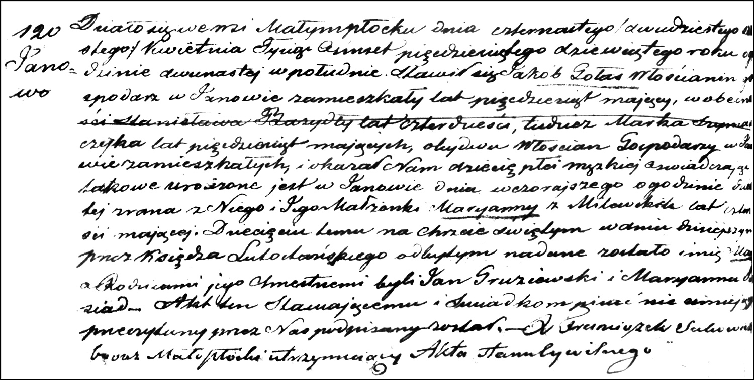 The Birth and Baptismal Record of Marek Gołaś – 1859