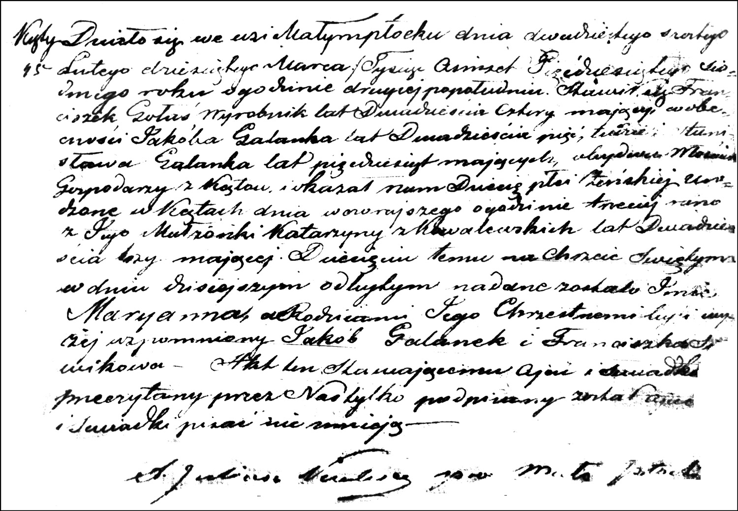 The Birth and Baptismal Record of Maryanna Gołaś - 1857