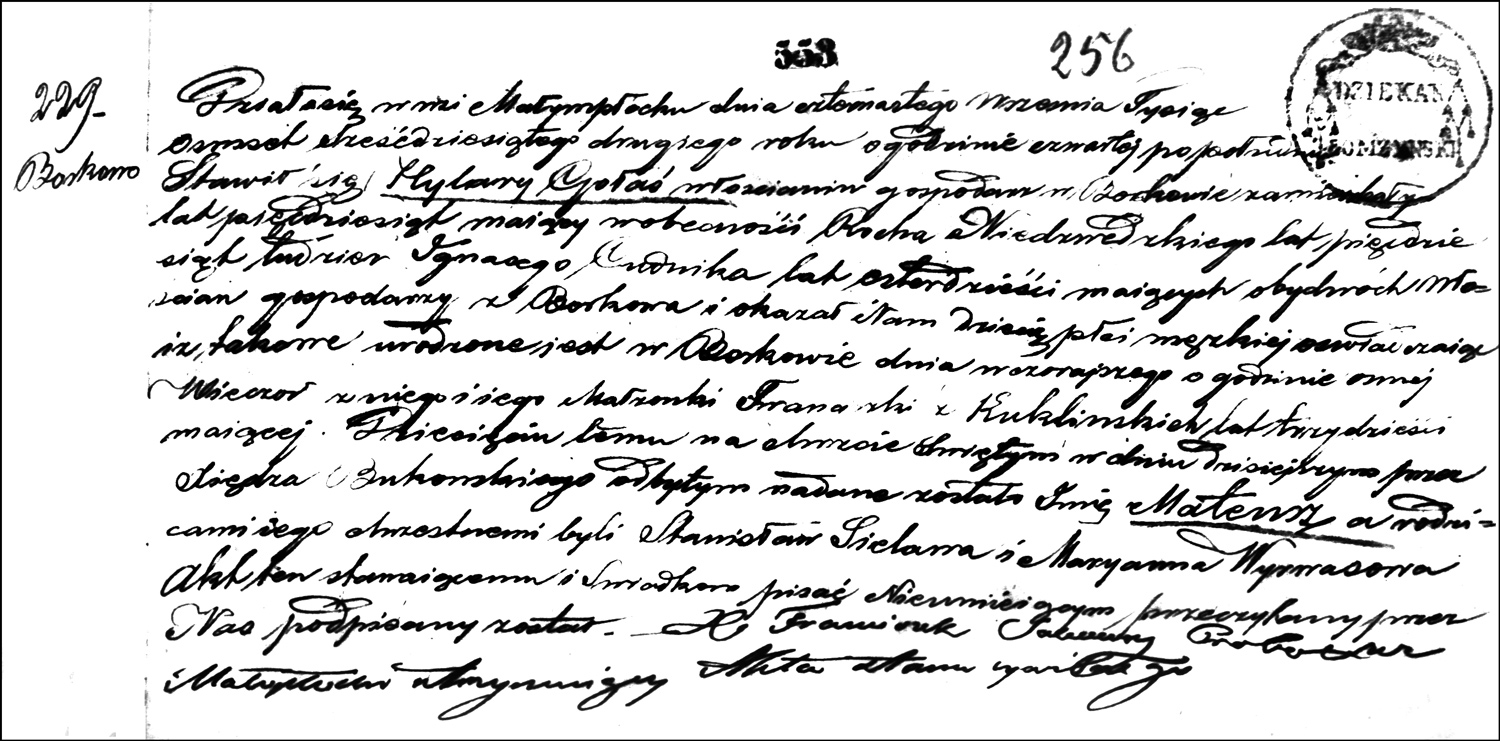 The Birth and Baptismal Record of Mateusz Gołaś – 1862
