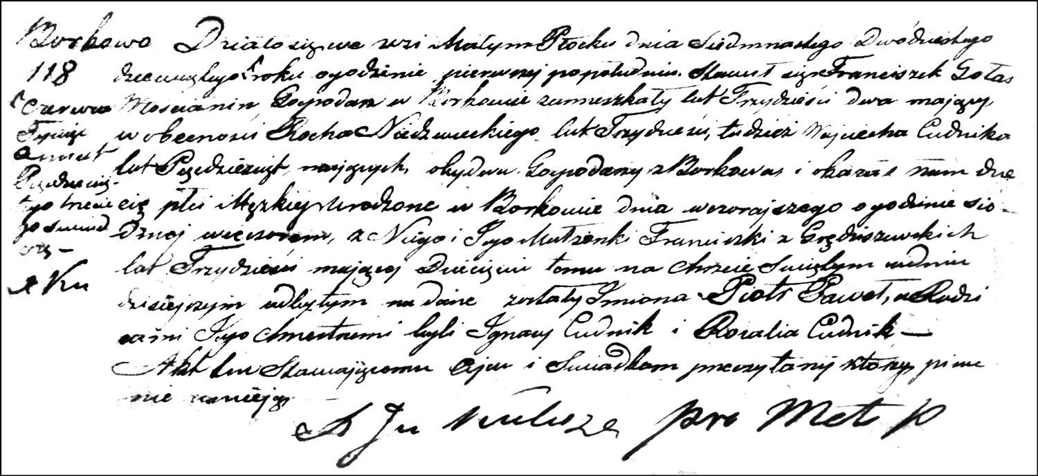 The Birth and Baptismal Record of Piotr Paweł Gołaś – 1853