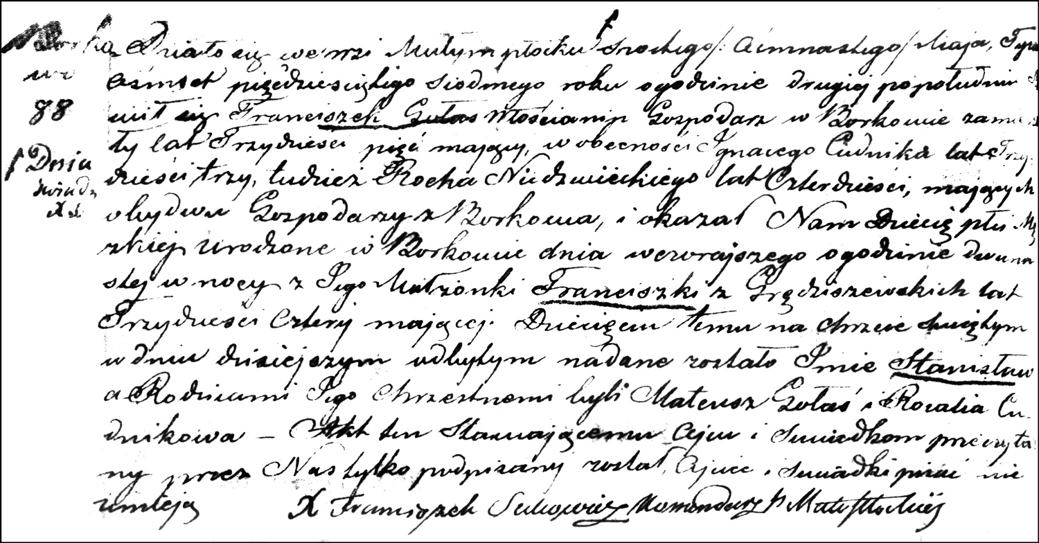 The Birth and Baptismal Record of Stanisław Gołaś - 1857