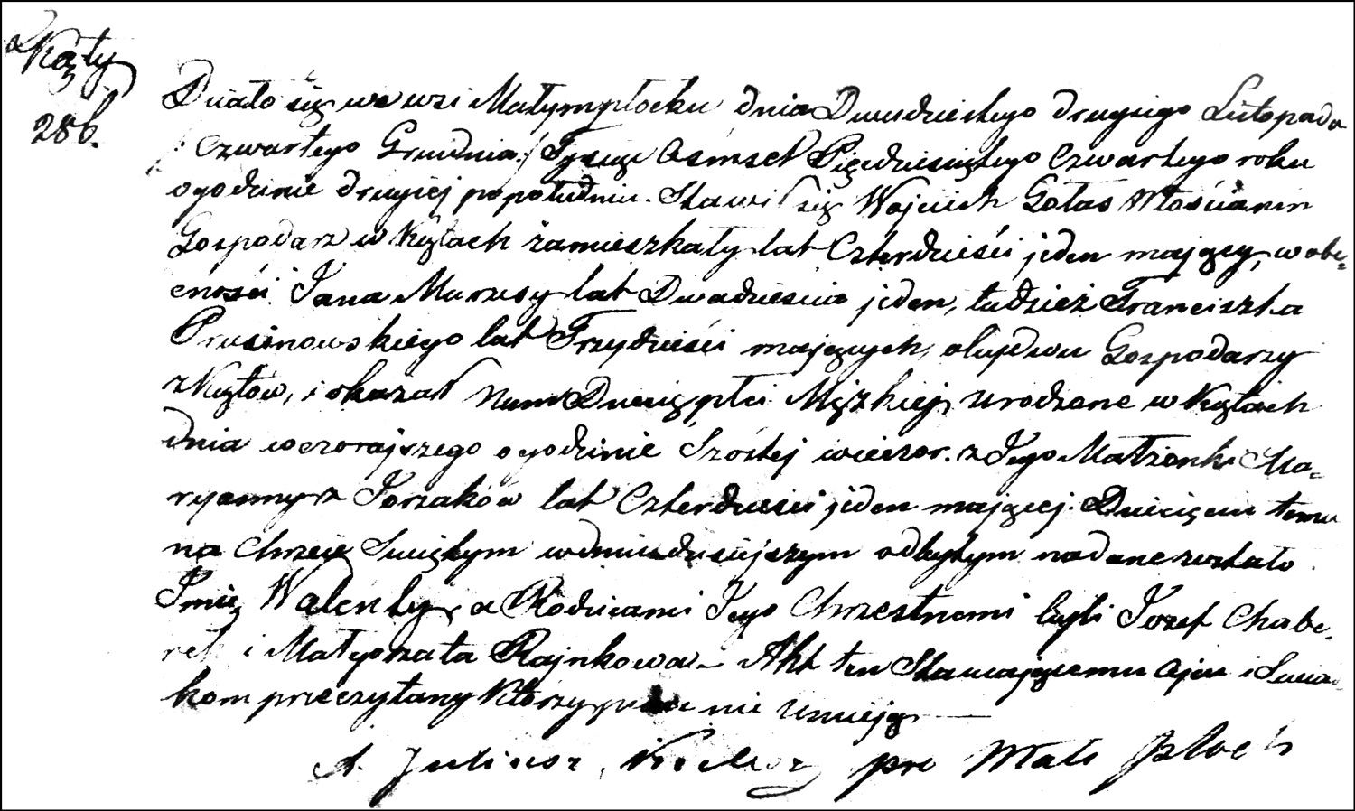 The Birth and Baptismal Record of Walenty Gołaś – 1854