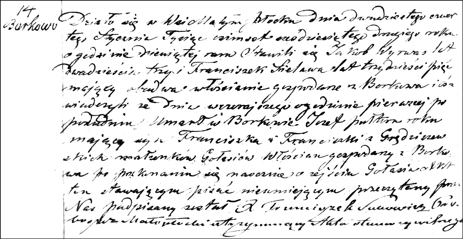 The Death and Burial Record of Józef Gołaś – 1862