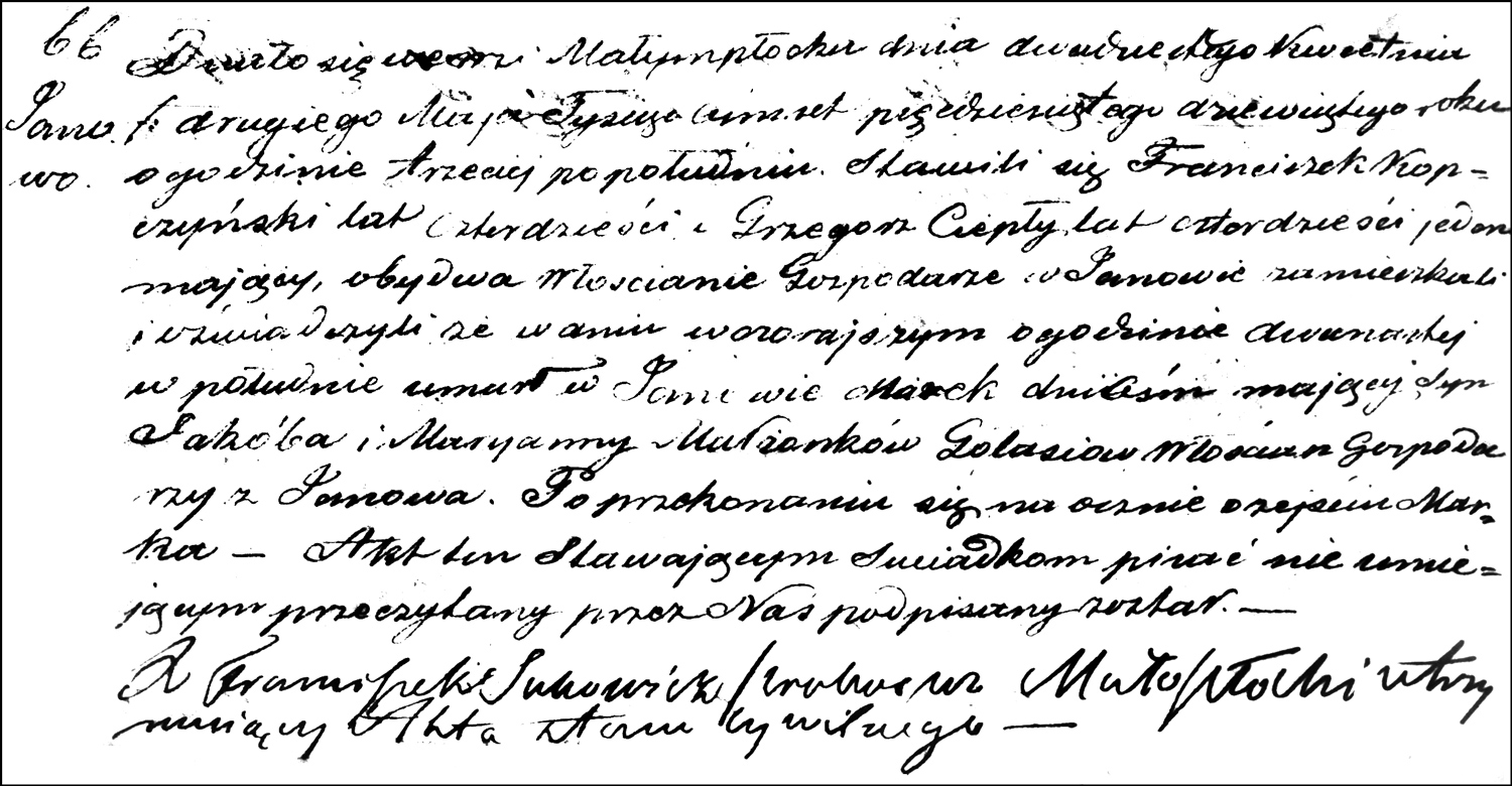 The Death and Burial Record of Marek Gołaś – 1859