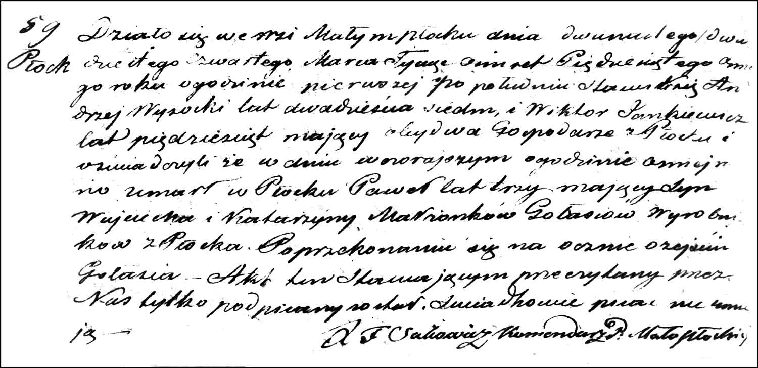 The Death and Burial Record of Paweł Gołaś – 1858
