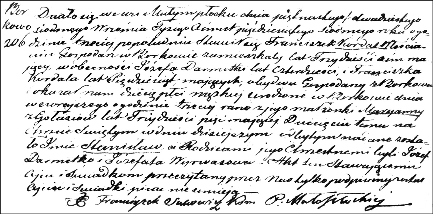PDF Copy of the Birth and Baptismal Record of Stanisław Kordas – 1857