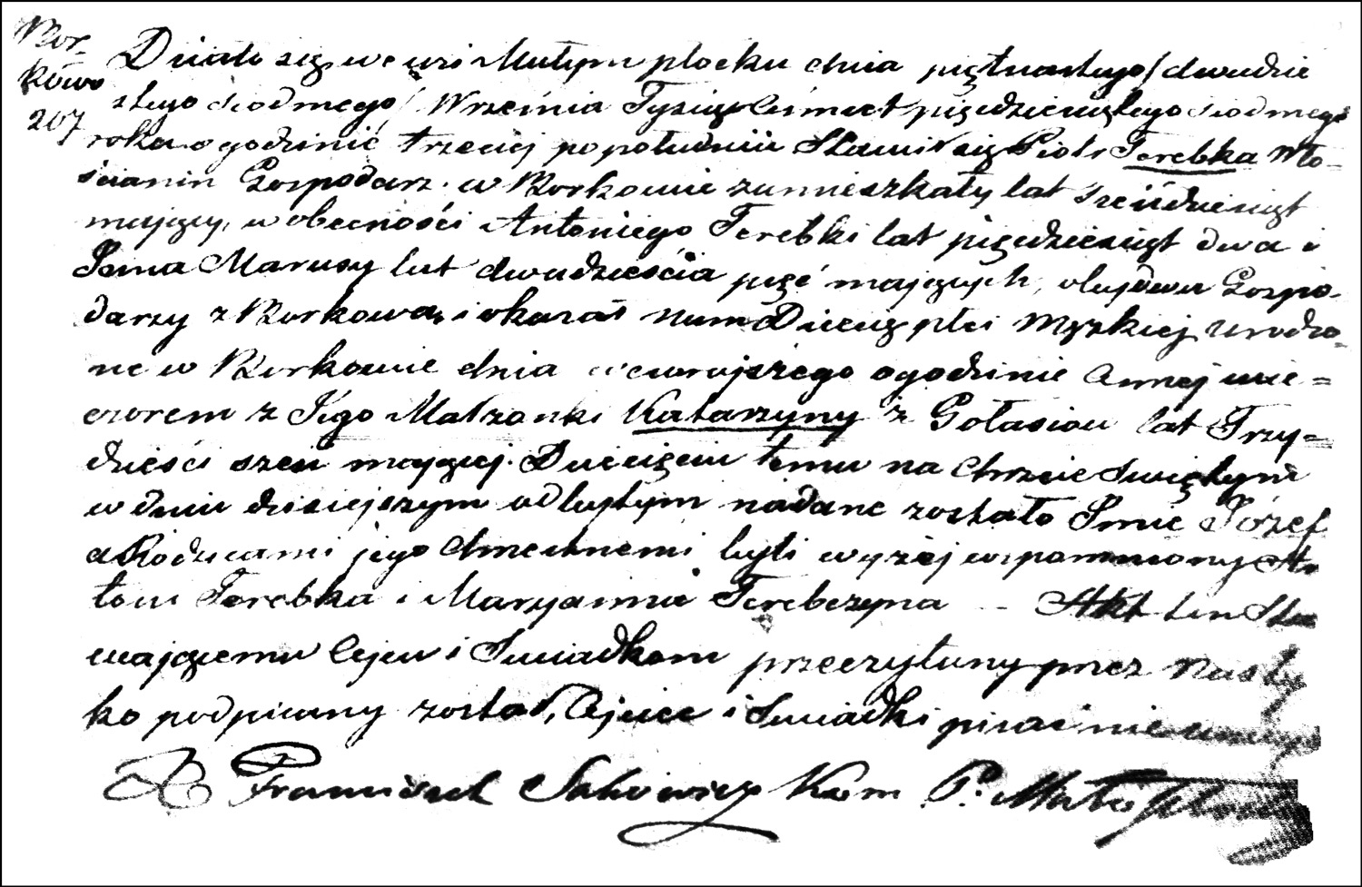 The Birth and Baptismal Record of Józef Terebka – 1857