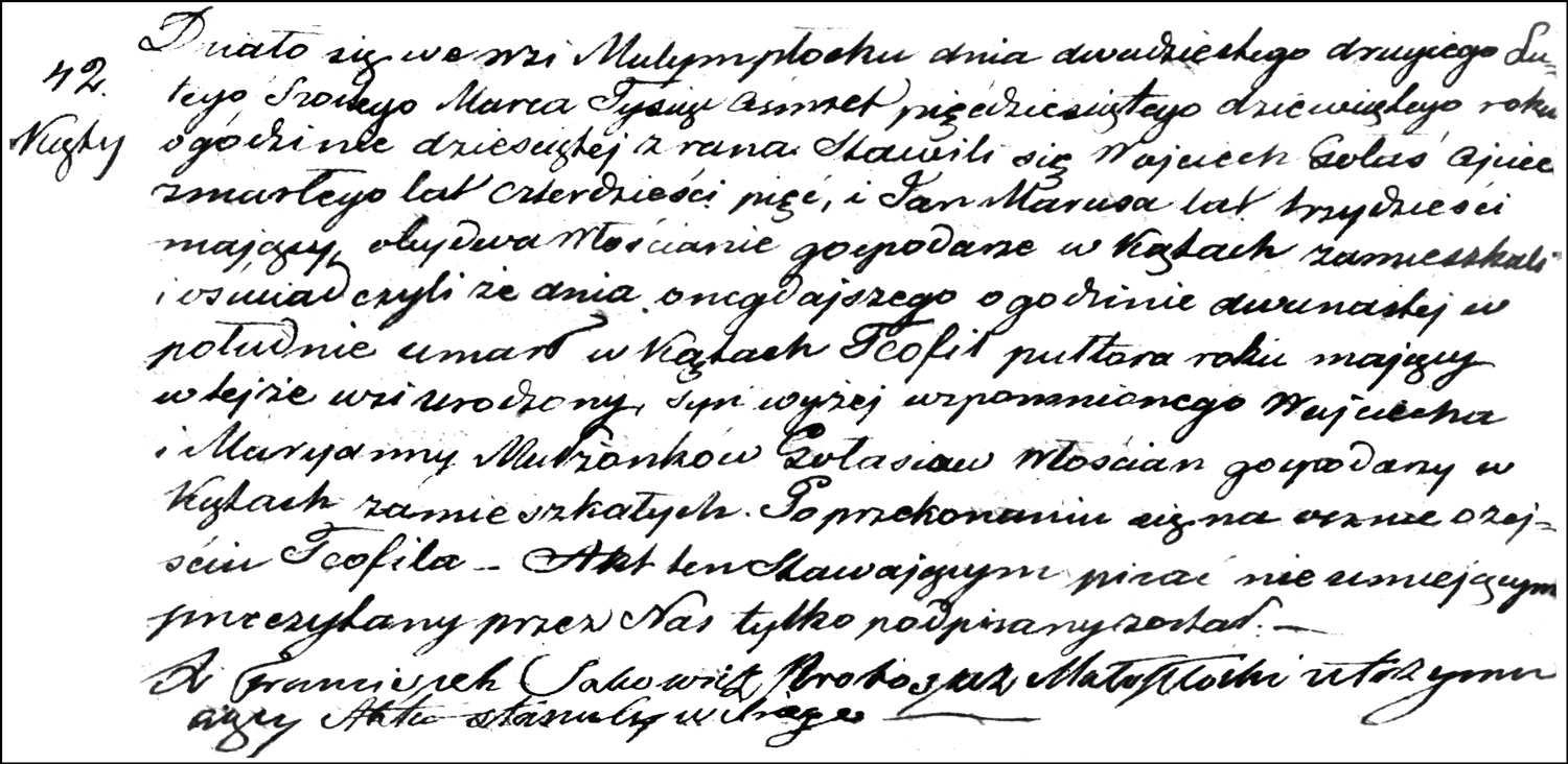 The Death and Burial Record of Teofil Gołaś – 1859