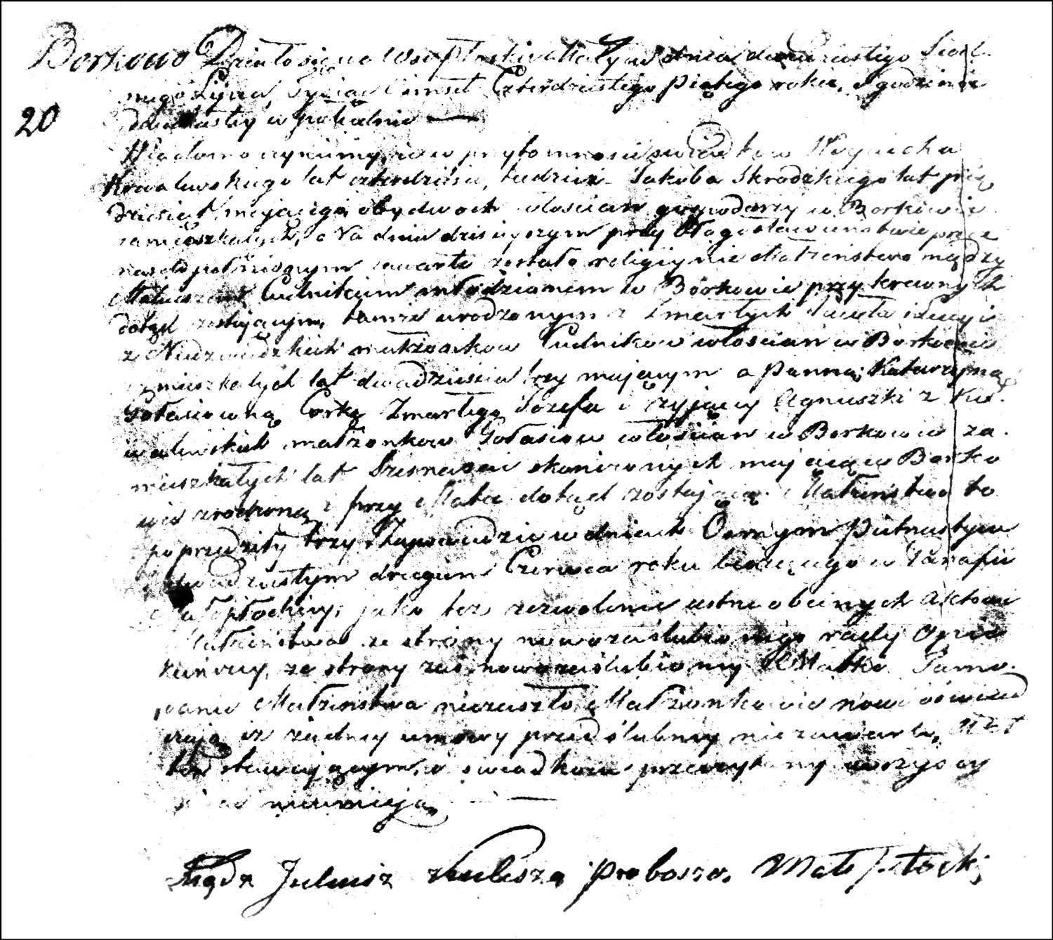 The Marriage Record of Mateusz Cudnik and Katarzyna Gołaś - 1845