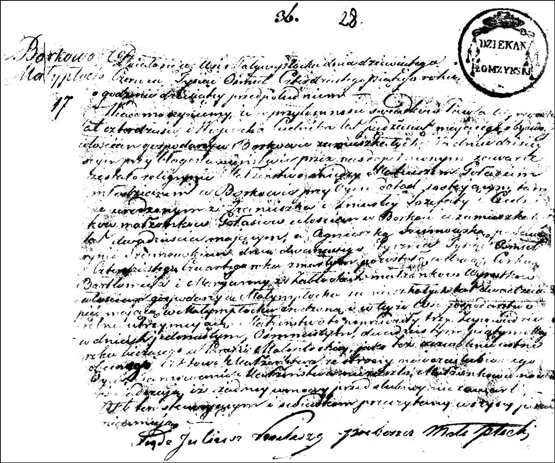 The Marriage Record of Mateusz Gołaś and Agnieszka née Wyrostek Szumowska – 1845