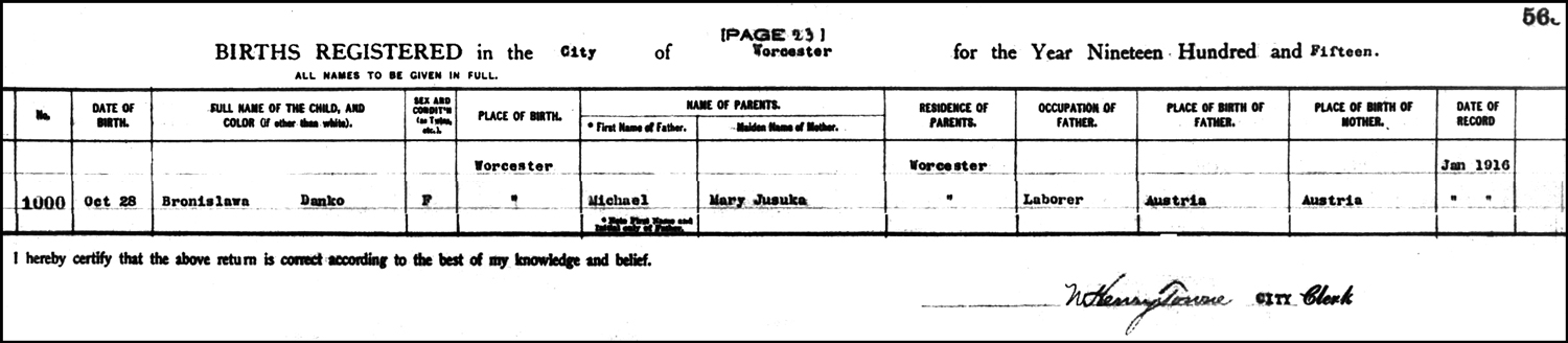 The Birth Record of Bertha Theresa Danko – 1915