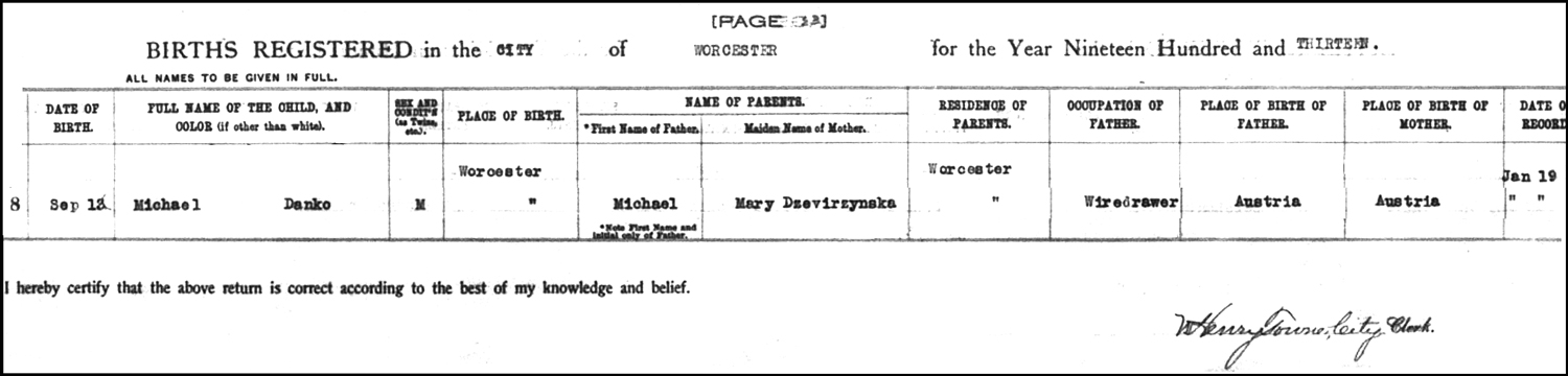 The Birth Record of Michael Danko – 1913