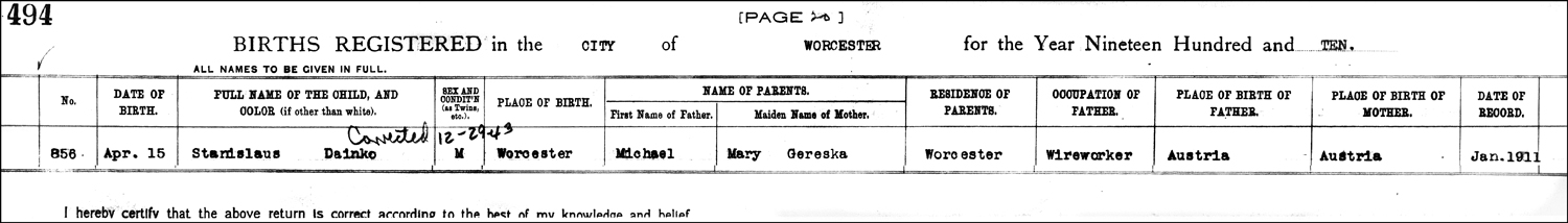 The Birth Record of Statia Danko – 1910